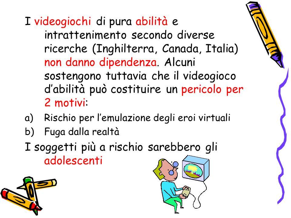 I videogiochi di pura abilità e intrattenimento secondo diverse ricerche (Inghilterra, Canada, Italia) non danno dipendenza. Alcuni sostengono tuttavi