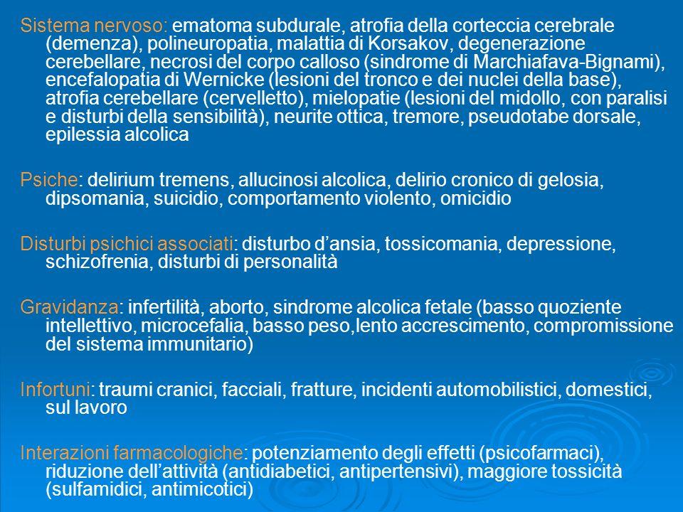 Principali malattie alcolcorrelate Cavo orale : paradentosi, carie, carcinoma della lingua, carcinoma laringeo Esofago: esofagite, reflusso gastro-eso