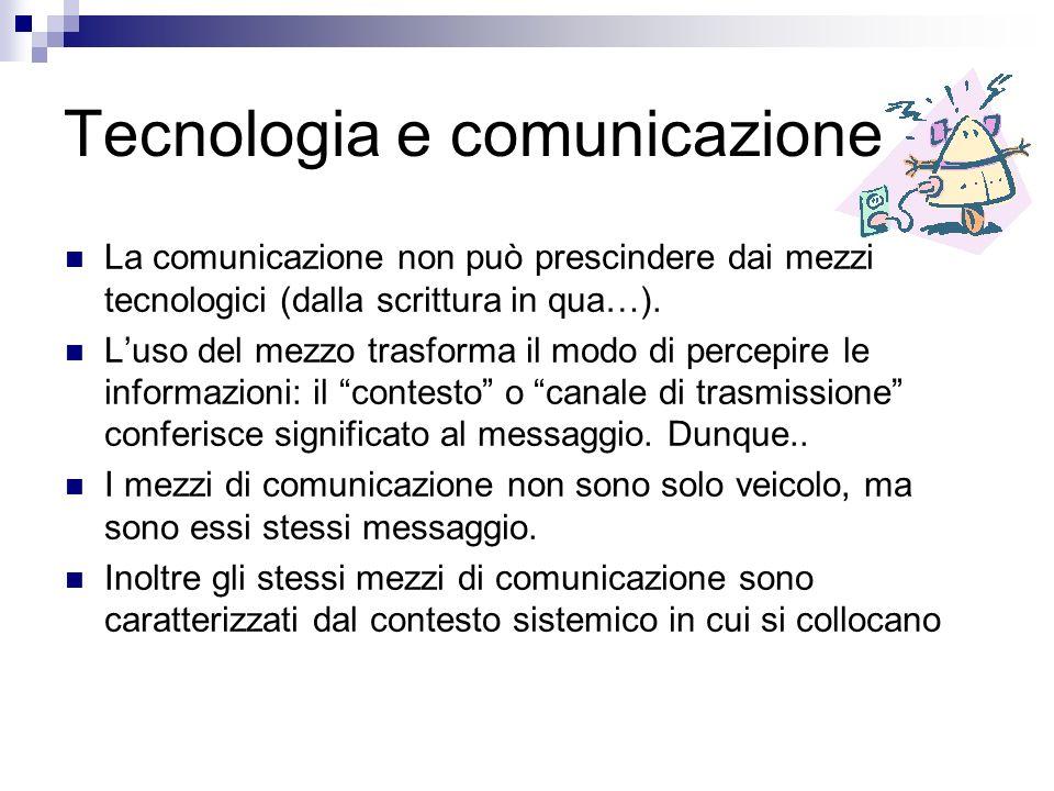 Tecnologia e comunicazione La comunicazione non può prescindere dai mezzi tecnologici (dalla scrittura in qua…).