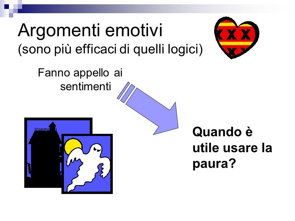 Argomenti emotivi (sono più efficaci di quelli logici) Fanno appello ai sentimenti Quando è utile usare la paura