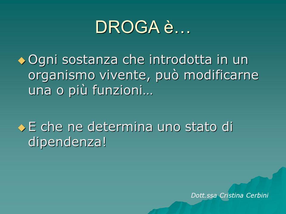DROGA è… Ogni sostanza che introdotta in un organismo vivente, può modificarne una o più funzioni… Ogni sostanza che introdotta in un organismo vivente, può modificarne una o più funzioni… E che ne determina uno stato di dipendenza.