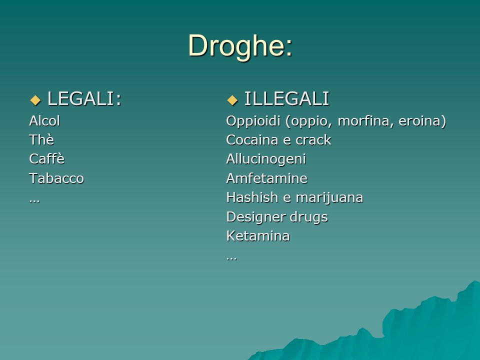 Droghe: LEGALI: LEGALI:AlcolThèCaffèTabacco… ILLEGALI ILLEGALI Oppioidi (oppio, morfina, eroina) Cocaina e crack AllucinogeniAmfetamine Hashish e marijuana Designer drugs Ketamina…