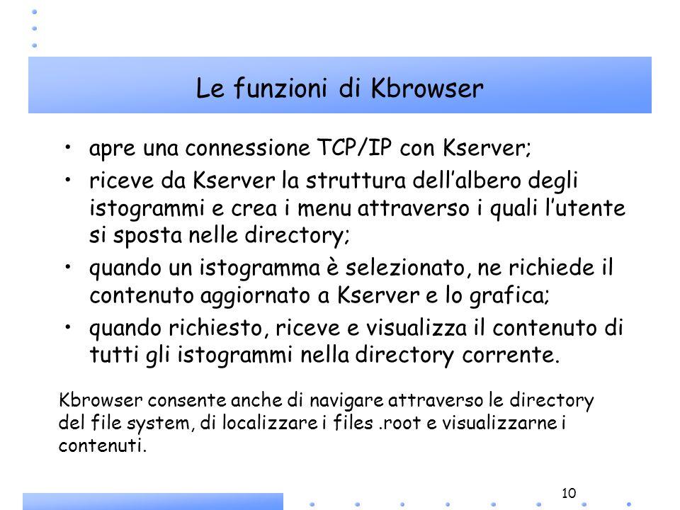 10 Le funzioni di Kbrowser Kbrowser consente anche di navigare attraverso le directory del file system, di localizzare i files.root e visualizzarne i contenuti.