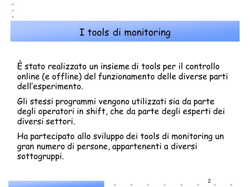 2 È stato realizzato un insieme di tools per il controllo online (e offline) del funzionamento delle diverse parti dellesperimento. Gli stessi program