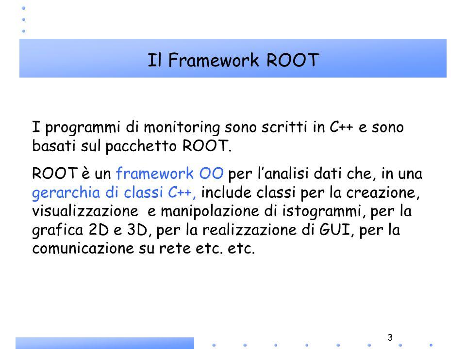 3 I programmi di monitoring sono scritti in C++ e sono basati sul pacchetto ROOT. ROOT è un framework OO per lanalisi dati che, in una gerarchia di cl