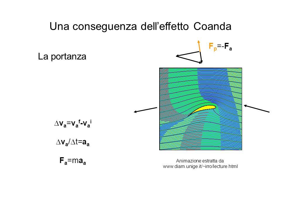 Una conseguenza delleffetto Coanda La portanza v a =v a f -v a i v a / t=a a F a =ma a F p =-F a Animazione estratta da www.diam.unige.it/~irro/lecture.html