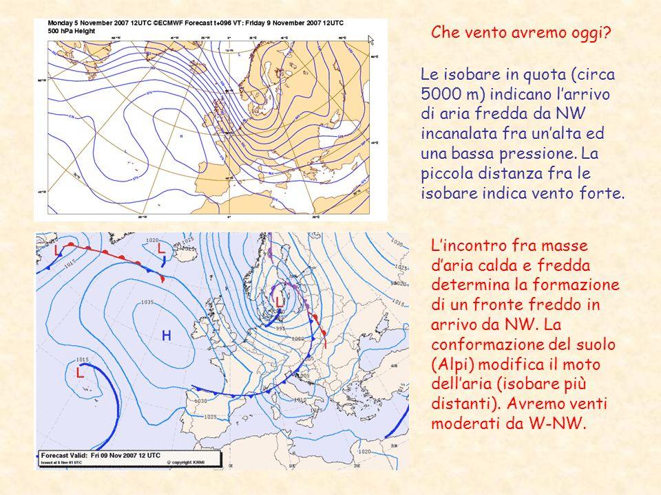 Che vento avremo oggi? Le isobare in quota (circa 5000 m) indicano larrivo di aria fredda da NW incanalata fra unalta ed una bassa pressione. La picco