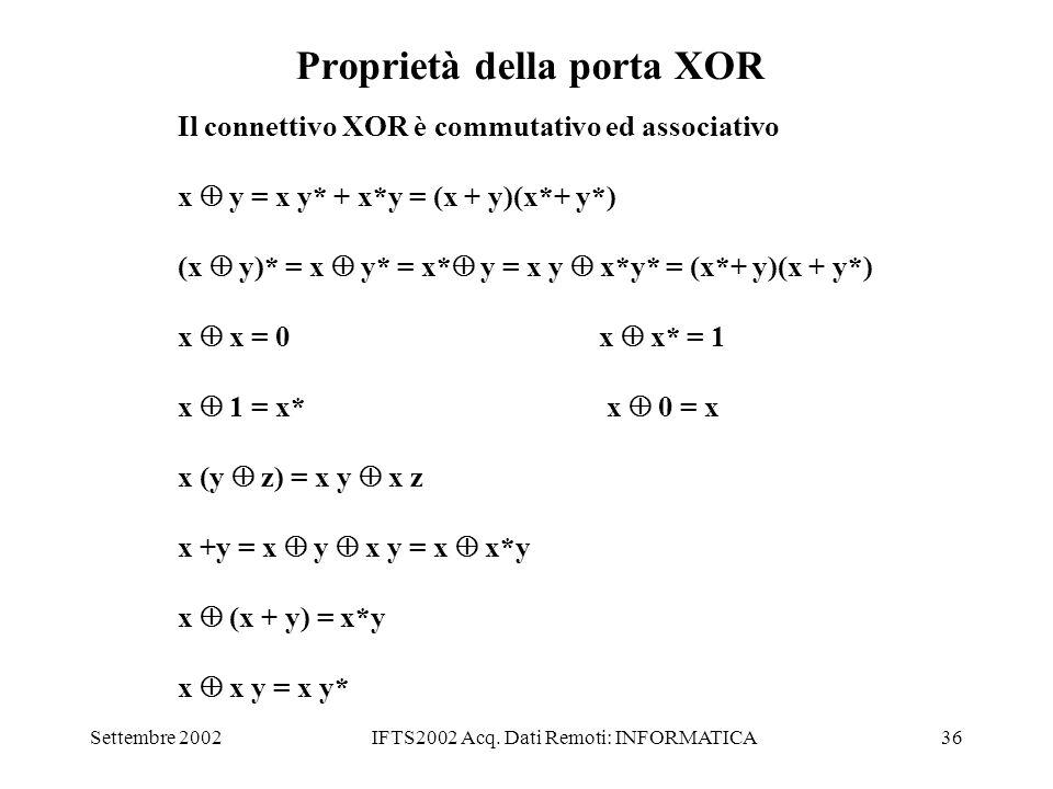 Settembre 2002IFTS2002 Acq. Dati Remoti: INFORMATICA36 Proprietà della porta XOR Il connettivo XOR è commutativo ed associativo x y = x y* + x*y = (x