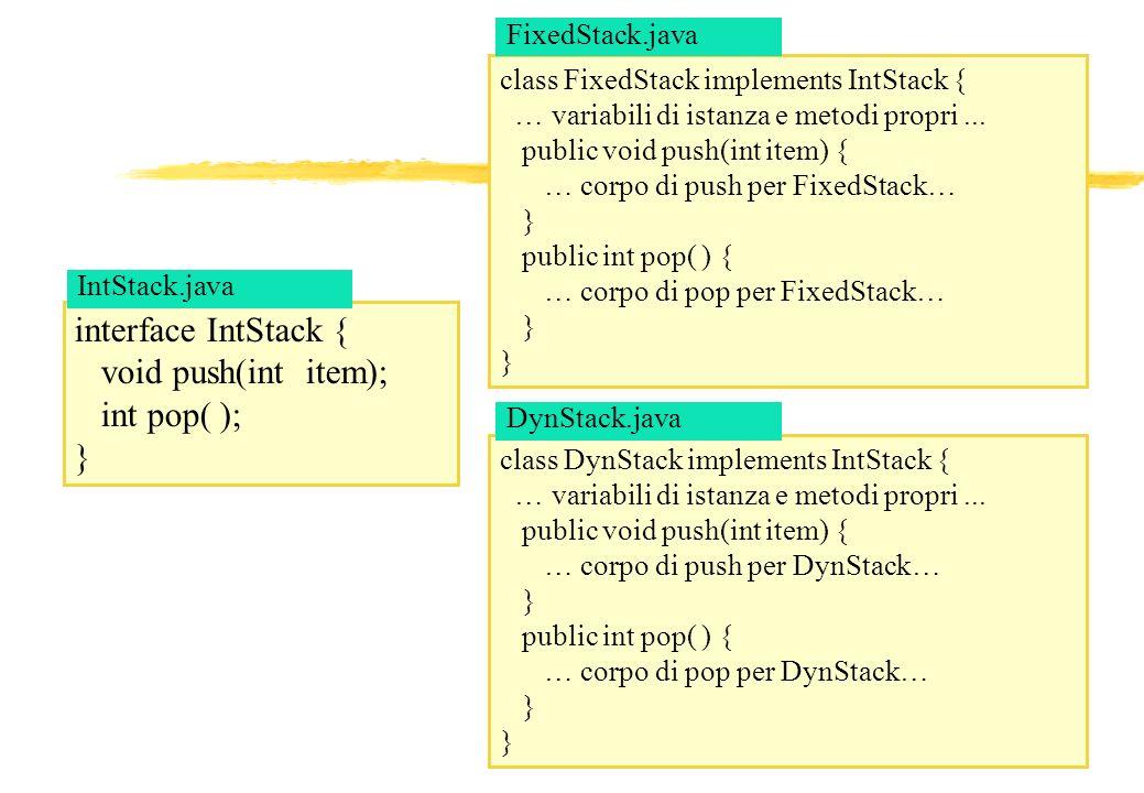 13 interface IntStack { void push(int item); int pop( ); } class DynStack implements IntStack { … variabili di istanza e metodi propri... public void