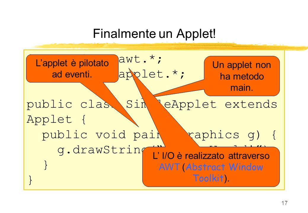 17 import java.awt.*; import java.applet.*; public class SimpleApplet extends Applet { public void paint(Graphics g) { g.drawString(Hello World!); } F