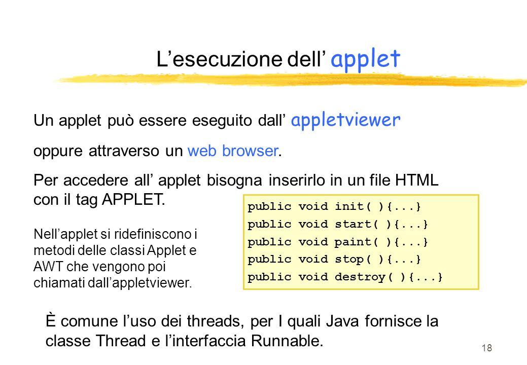 18 Lesecuzione dell applet Un applet può essere eseguito dall appletviewer oppure attraverso un web browser. Per accedere all applet bisogna inserirlo
