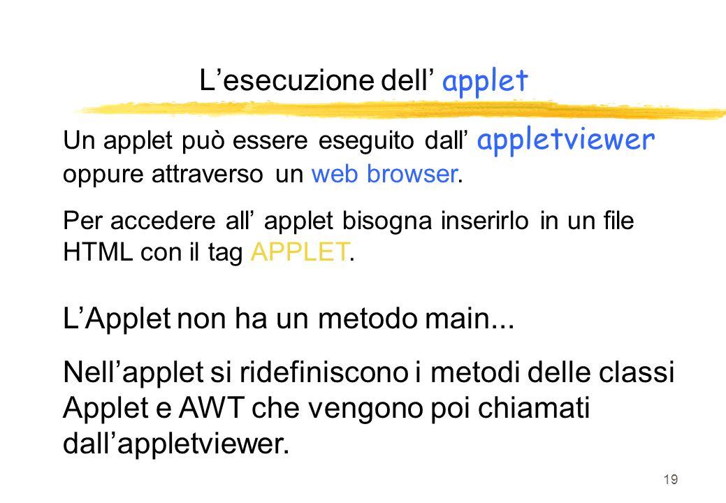 19 Un applet può essere eseguito dall appletviewer oppure attraverso un web browser. Per accedere all applet bisogna inserirlo in un file HTML con il