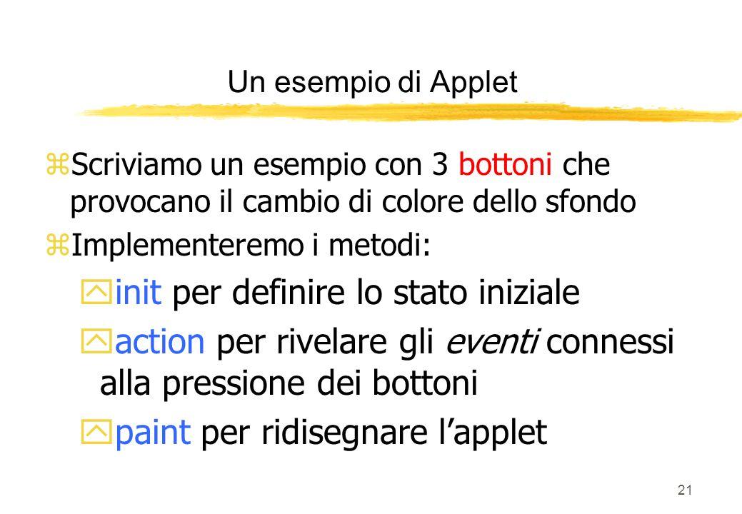 21 zScriviamo un esempio con 3 bottoni che provocano il cambio di colore dello sfondo zImplementeremo i metodi: yinit per definire lo stato iniziale y