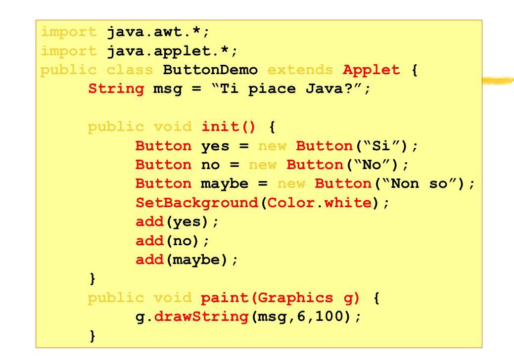 22 Esempio import java.awt.*; import java.applet.*; public class ButtonDemo extends Applet { String msg = Ti piace Java?; public void init() { Button
