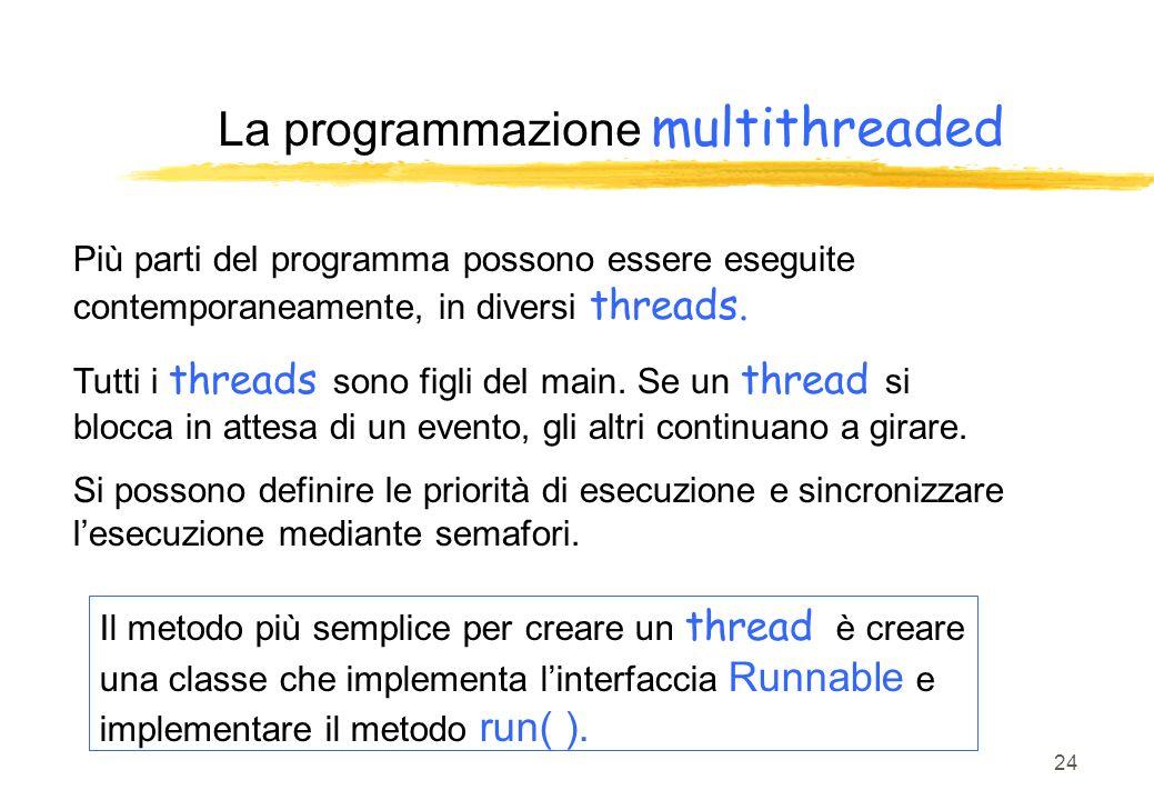 24 La programmazione multithreaded Più parti del programma possono essere eseguite contemporaneamente, in diversi threads. Tutti i threads sono figli