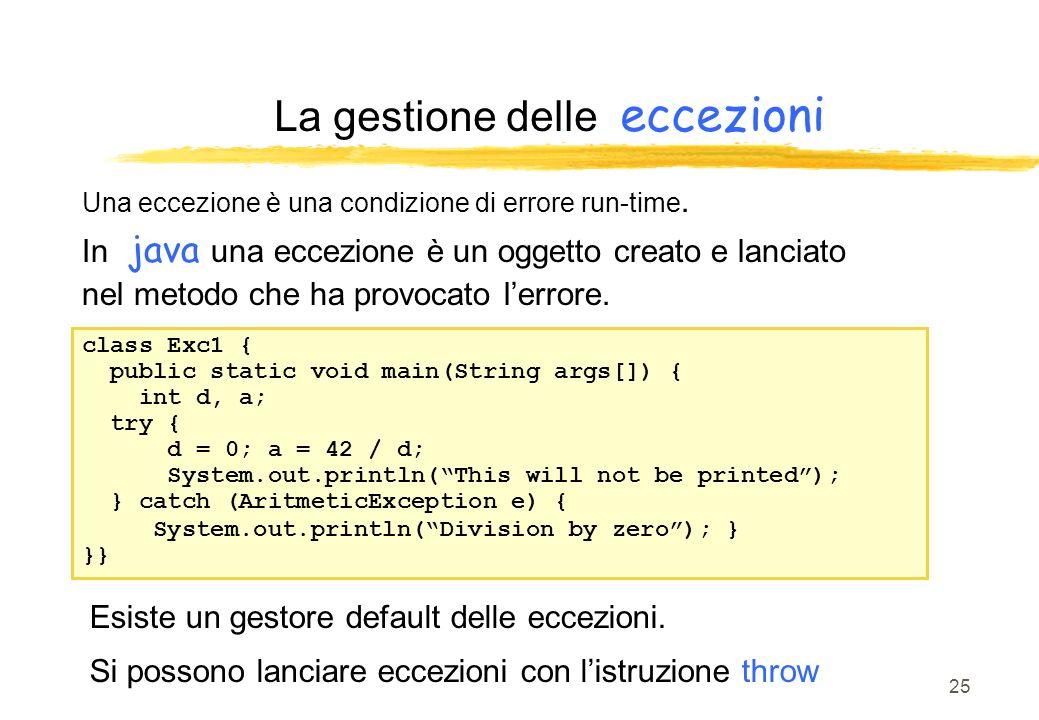 25 La gestione delle eccezioni Una eccezione è una condizione di errore run-time. In java una eccezione è un oggetto creato e lanciato nel metodo che