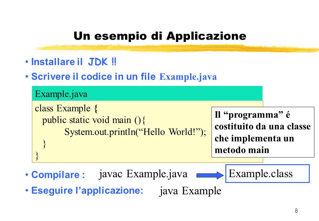 8 Installare il JDK !! Scrivere il codice in un file Example.java java Example Eseguire lapplicazione: Compilare : javac Example.java Example.class cl