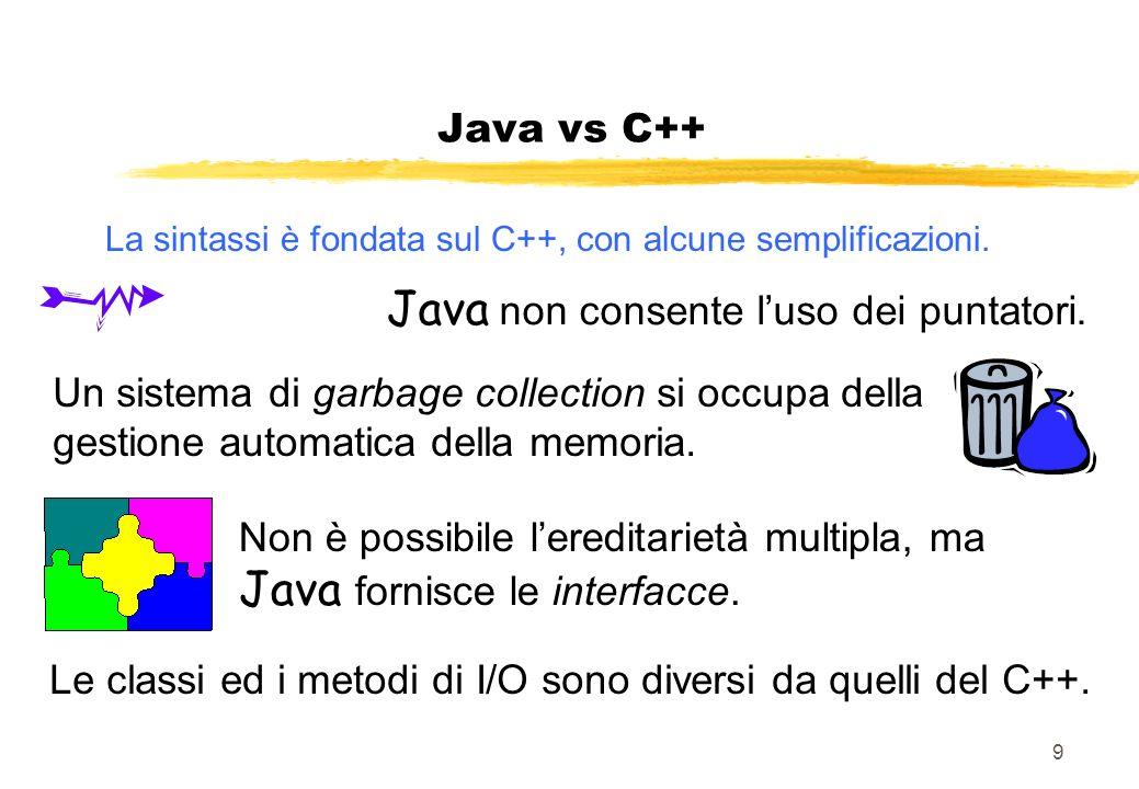 9 La sintassi è fondata sul C++, con alcune semplificazioni. Java vs C++ Un sistema di garbage collection si occupa della gestione automatica della me