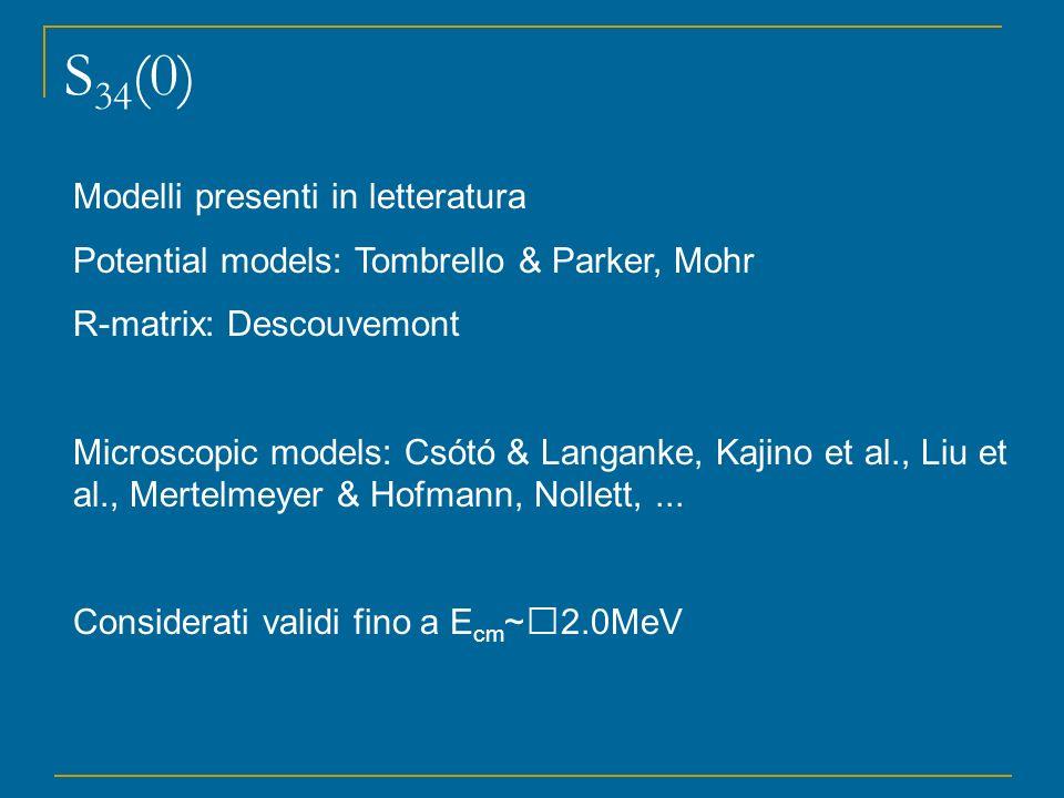 S 34 (0) Modelli presenti in letteratura Potential models: Tombrello & Parker, Mohr R-matrix: Descouvemont Microscopic models: Csótó & Langanke, Kajin