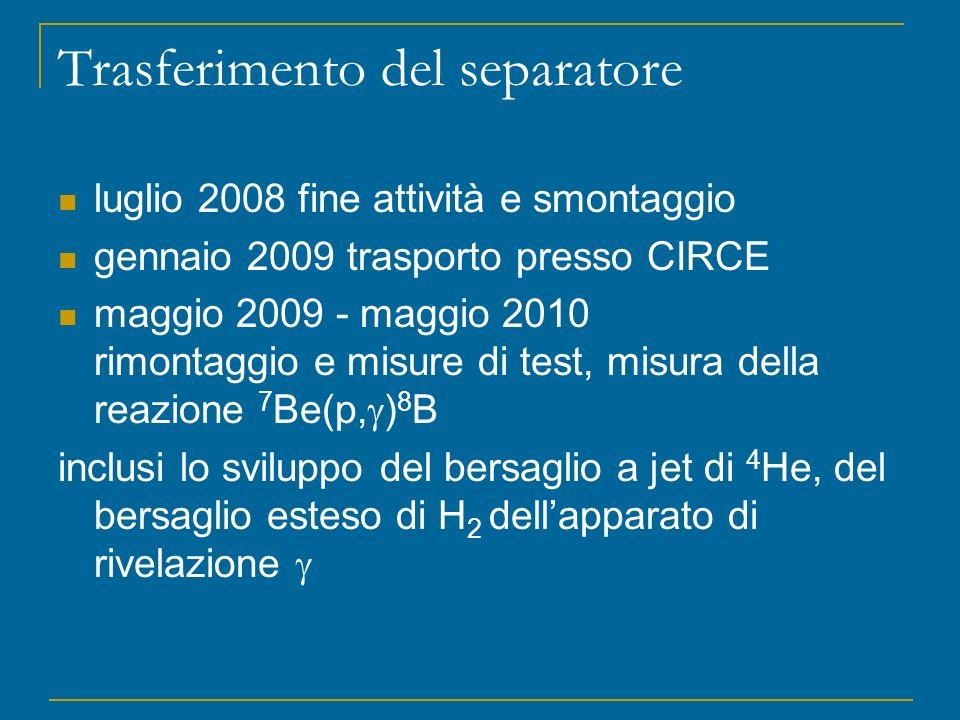 luglio 2008 fine attività e smontaggio gennaio 2009 trasporto presso CIRCE maggio 2009 - maggio 2010 rimontaggio e misure di test, misura della reazio