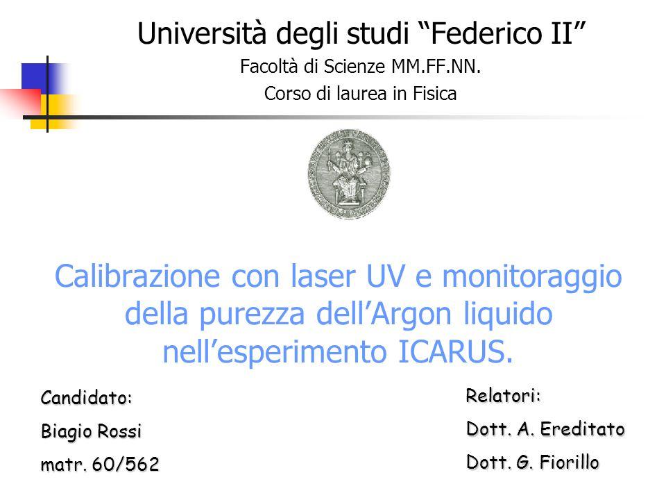 Calibrazione con laser UV e monitoraggio della purezza dellArgon liquido nellesperimento ICARUS. Università degli studi Federico II Facoltà di Scienze