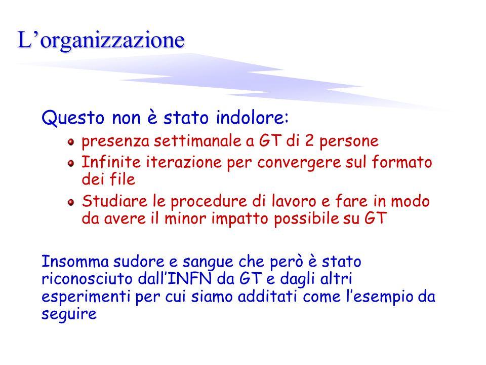 Lorganizzazione Questo non è stato indolore: presenza settimanale a GT di 2 persone Infinite iterazione per convergere sul formato dei file Studiare l