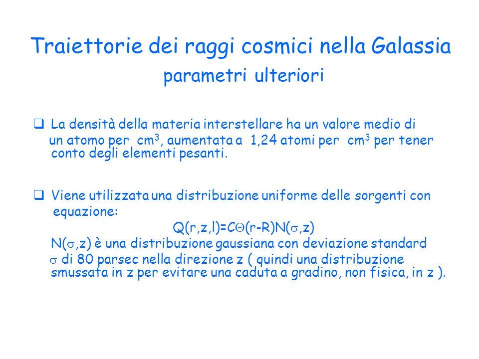 Traiettorie dei raggi cosmici nella Galassia parametri ulteriori La densità della materia interstellare ha un valore medio di un atomo per cm 3, aumentata a 1,24 atomi per cm 3 per tener conto degli elementi pesanti.