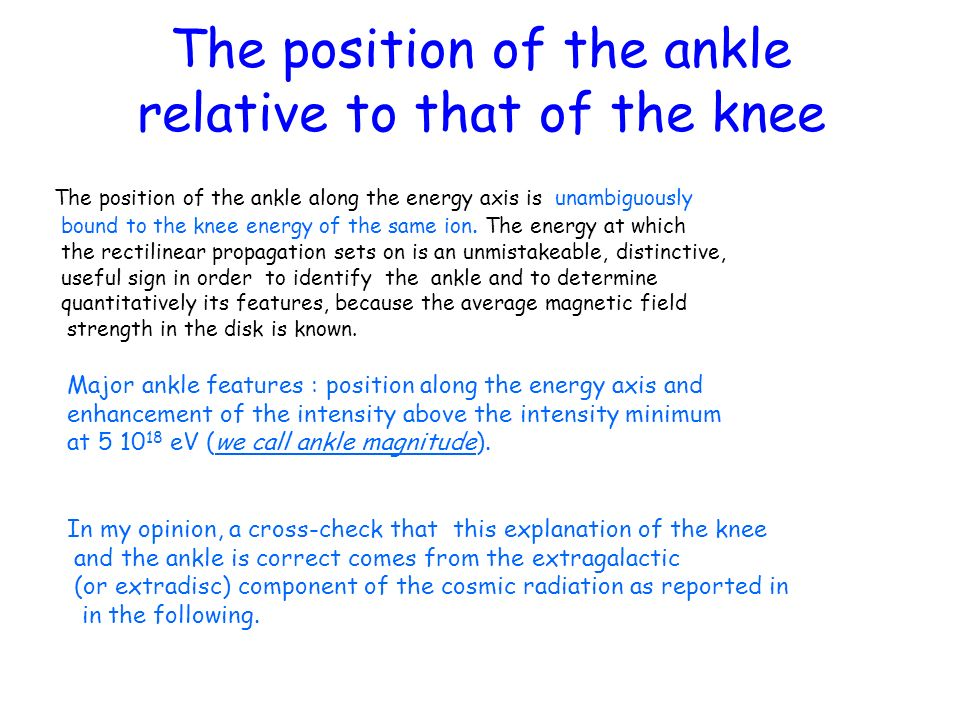The position of the ankle relative to that of the knee The position of the ankle along the energy axis is unambiguously bound to the knee energy of th