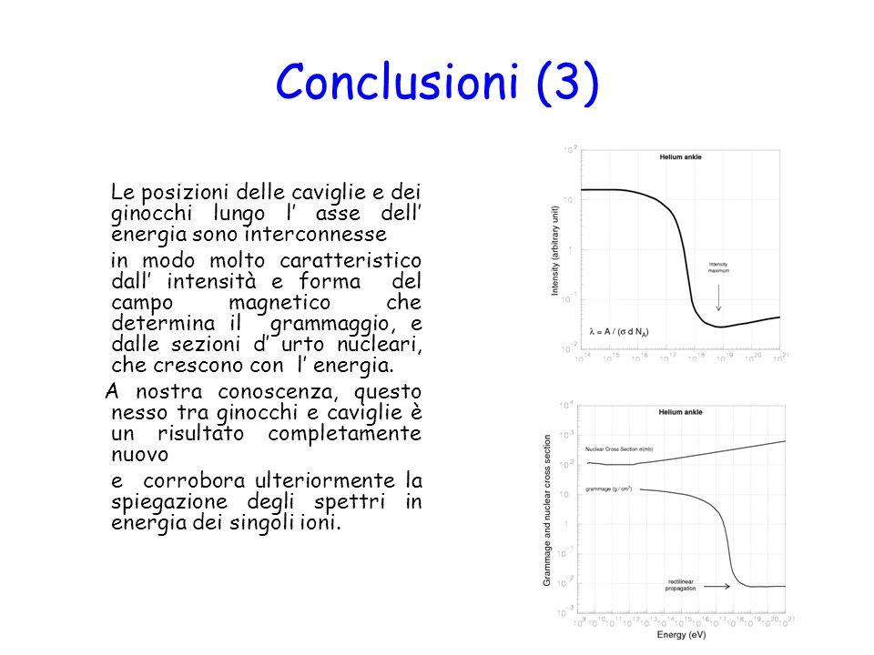 Conclusioni (3) Le posizioni delle caviglie e dei ginocchi lungo l asse dell energia sono interconnesse in modo molto caratteristico dall intensità e forma del campo magnetico che determina il grammaggio, e dalle sezioni d urto nucleari, che crescono con l energia.