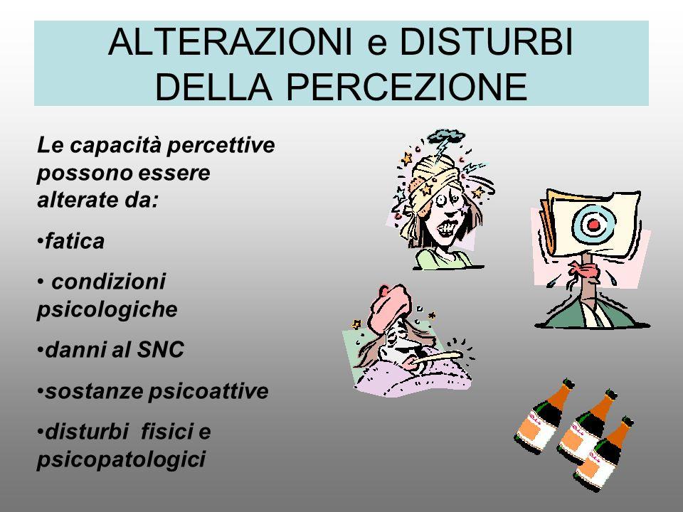 ALTERAZIONI e DISTURBI DELLA PERCEZIONE Le capacità percettive possono essere alterate da: fatica condizioni psicologiche danni al SNC sostanze psicoa