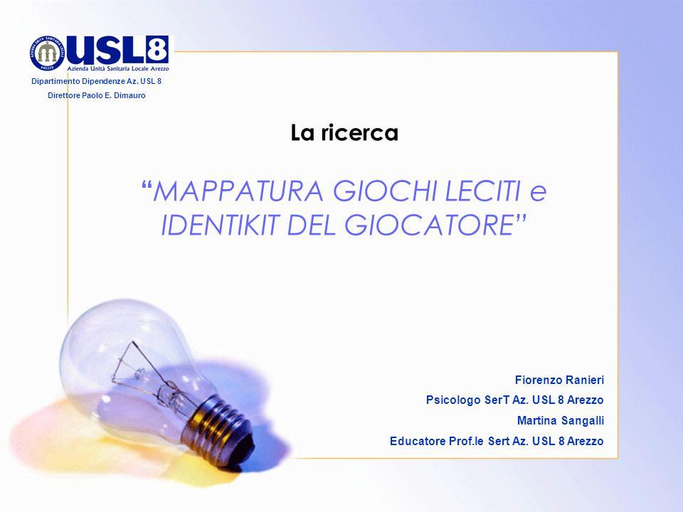 Introduzione Il Gruppo di lavoro interistituzionale G.A.N.D.* in collaborazione con le Associazioni dei Commercianti, ha deciso di promuovere una ricerca con argomento MAPPATURA GIOCHI LECITI e IDENTIKIT DEL GIOCATORE.