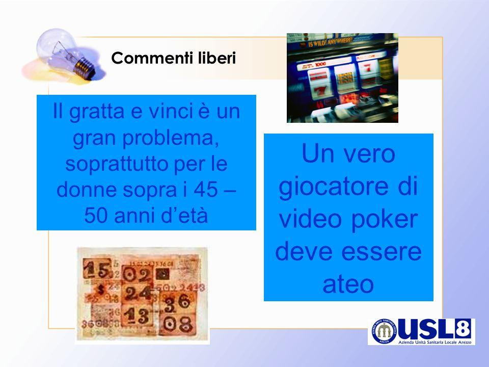 Commenti liberi Il gratta e vinci è un gran problema, soprattutto per le donne sopra i 45 – 50 anni detà Un vero giocatore di video poker deve essere