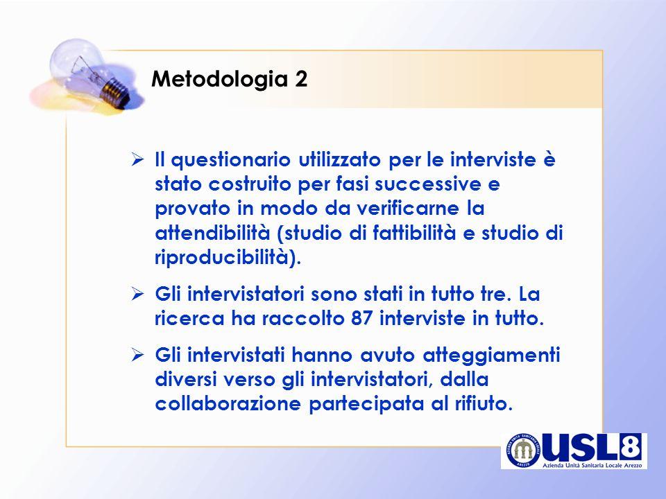 Metodologia 2 Il questionario utilizzato per le interviste è stato costruito per fasi successive e provato in modo da verificarne la attendibilità (st