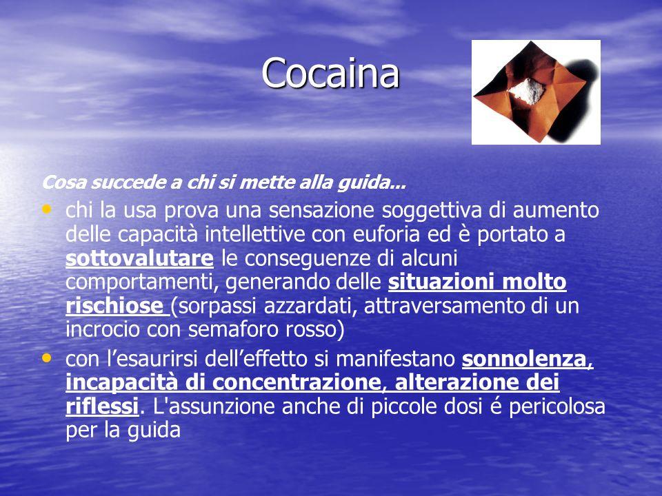 Cocaina Cosa succede a chi si mette alla guida... chi la usa prova una sensazione soggettiva di aumento delle capacità intellettive con euforia ed è p