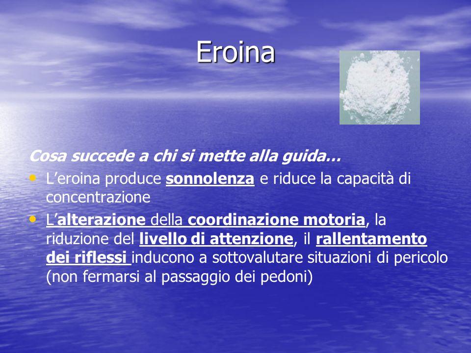 Eroina Cosa succede a chi si mette alla guida… Leroina produce sonnolenza e riduce la capacità di concentrazione Lalterazione della coordinazione moto
