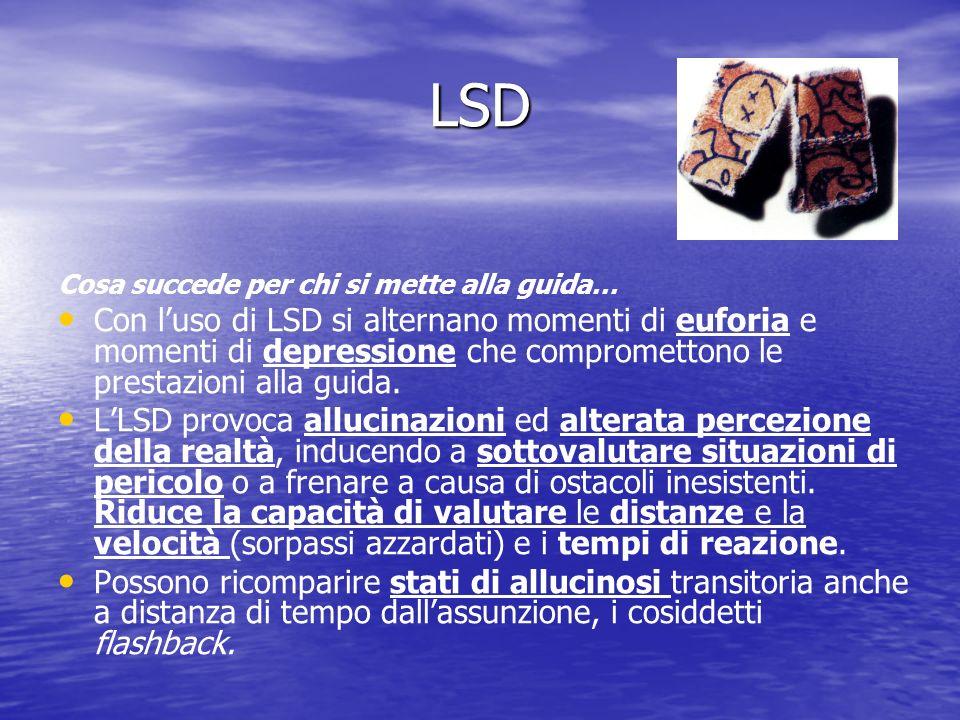 LSD Cosa succede per chi si mette alla guida… Con luso di LSD si alternano momenti di euforia e momenti di depressione che compromettono le prestazioni alla guida.