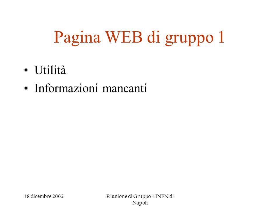 18 dicembre 2002Riunione di Gruppo 1 INFN di Napoli Pagina WEB di gruppo 1 Utilità Informazioni mancanti