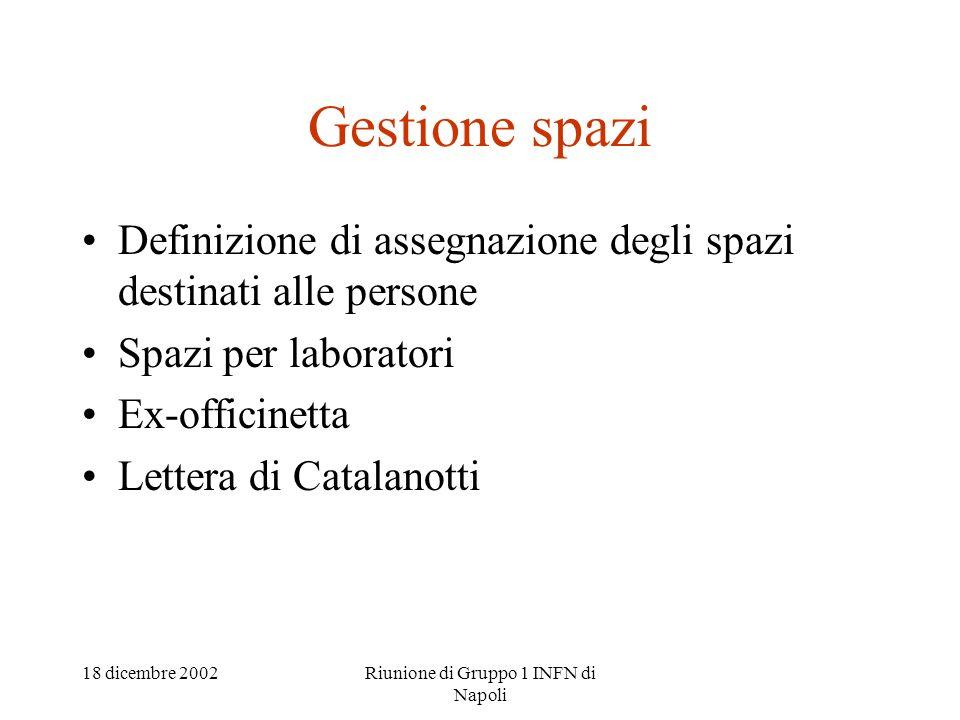 18 dicembre 2002Riunione di Gruppo 1 INFN di Napoli Gestione spazi Definizione di assegnazione degli spazi destinati alle persone Spazi per laboratori