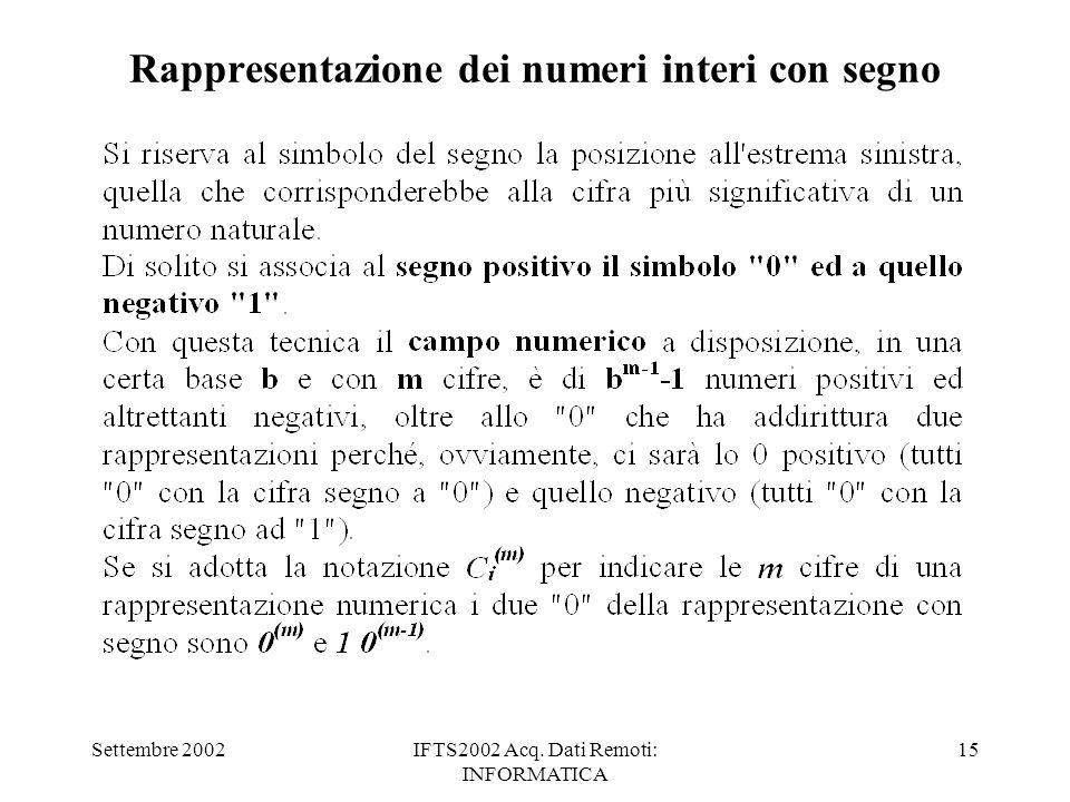 Settembre 2002IFTS2002 Acq. Dati Remoti: INFORMATICA 15 Rappresentazione dei numeri interi con segno