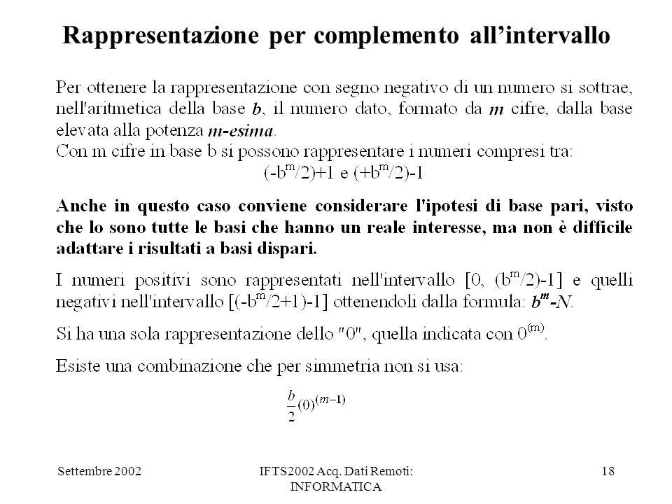 Settembre 2002IFTS2002 Acq. Dati Remoti: INFORMATICA 18 Rappresentazione per complemento allintervallo