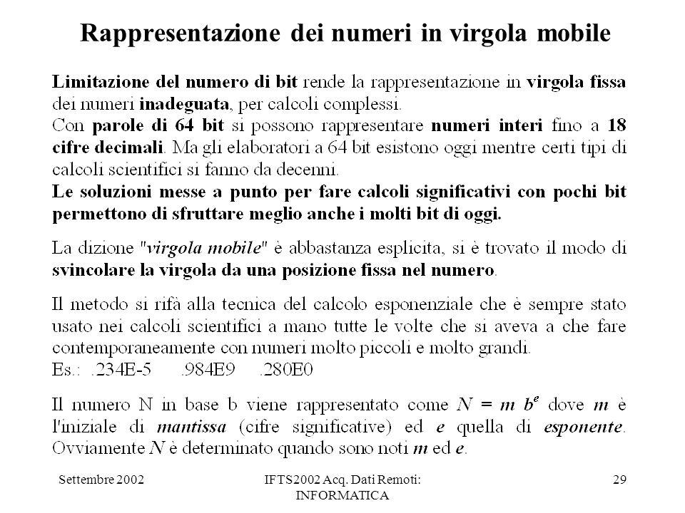 Settembre 2002IFTS2002 Acq. Dati Remoti: INFORMATICA 29 Rappresentazione dei numeri in virgola mobile