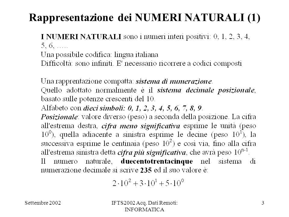 Settembre 2002IFTS2002 Acq. Dati Remoti: INFORMATICA 3 Rappresentazione dei NUMERI NATURALI (1)