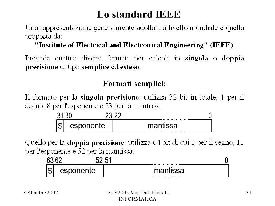 Settembre 2002IFTS2002 Acq. Dati Remoti: INFORMATICA 31 Lo standard IEEE