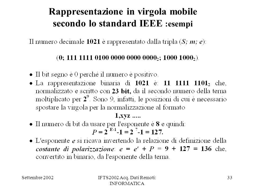 Settembre 2002IFTS2002 Acq. Dati Remoti: INFORMATICA 33 Rappresentazione in virgola mobile secondo lo standard IEEE :esempi