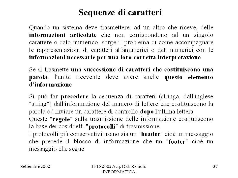 Settembre 2002IFTS2002 Acq. Dati Remoti: INFORMATICA 37 Sequenze di caratteri