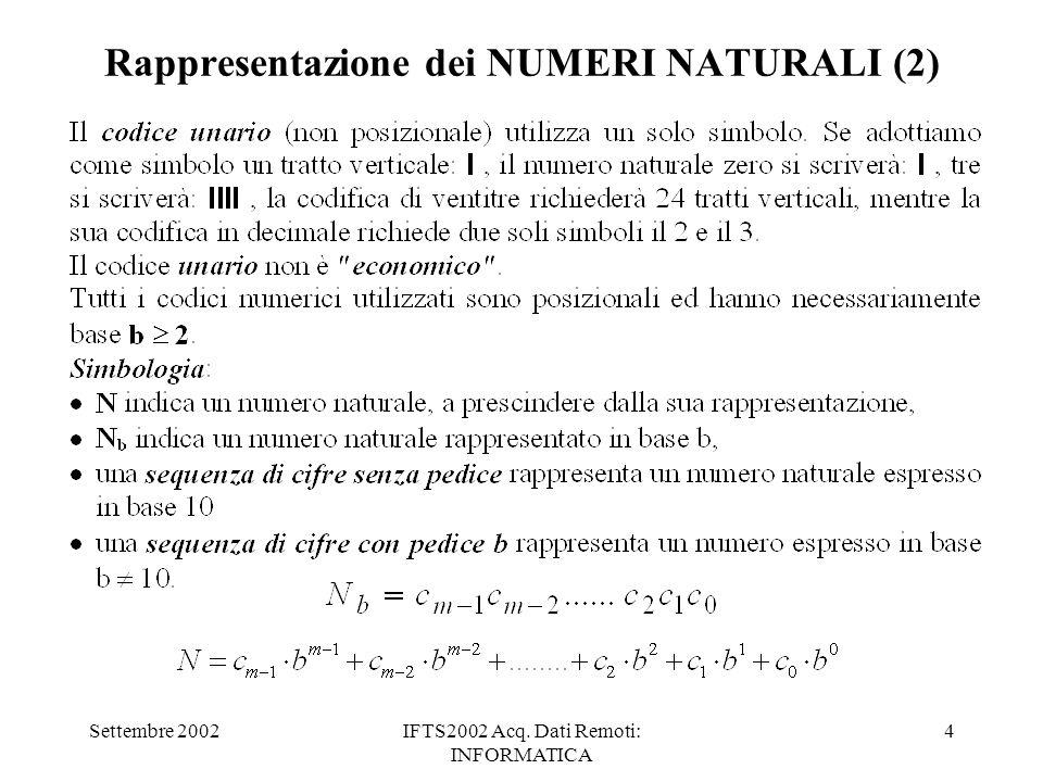 Settembre 2002IFTS2002 Acq. Dati Remoti: INFORMATICA 4 Rappresentazione dei NUMERI NATURALI (2)