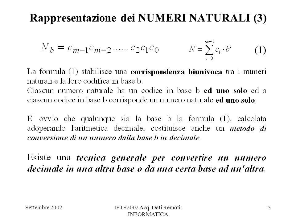 Settembre 2002IFTS2002 Acq. Dati Remoti: INFORMATICA 5 Rappresentazione dei NUMERI NATURALI (3) (1)