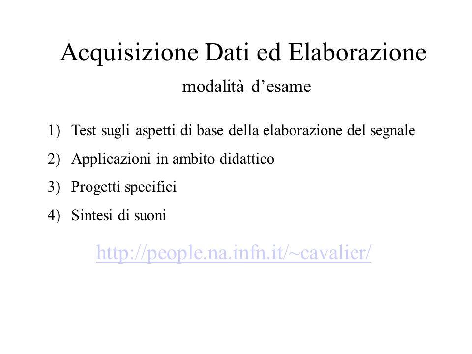 Acquisizione Dati ed Elaborazione modalità desame http://people.na.infn.it/~cavalier/ 1)Test sugli aspetti di base della elaborazione del segnale 2)Applicazioni in ambito didattico 3)Progetti specifici 4)Sintesi di suoni