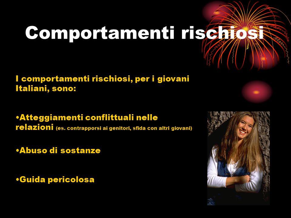 Comportamenti rischiosi I comportamenti rischiosi, per i giovani Italiani, sono: Atteggiamenti conflittuali nelle relazioni (es. contrapporsi ai genit