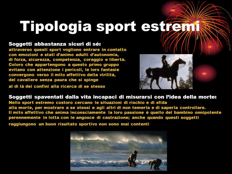 Tipologia sport estremi Soggetti abbastanza sicuri di sé: attraverso questi sport vogliono entrare in contatto con emozioni e stati danimo adulti daut